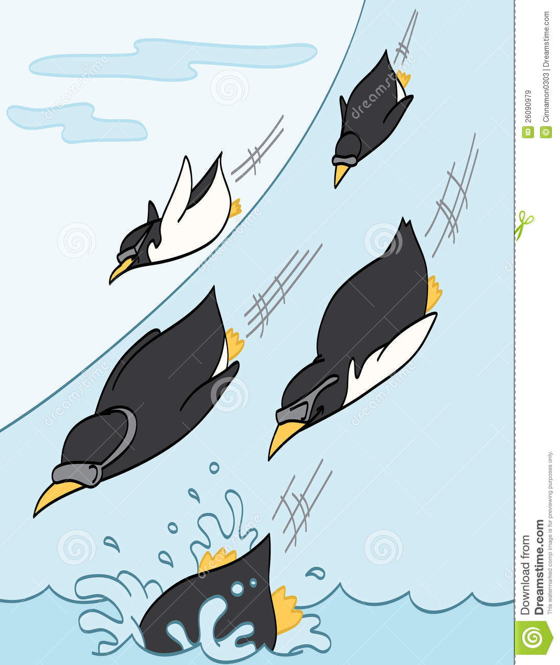 Penguins Sliding Downhill Royalty Free Stock Images   Image  26090979