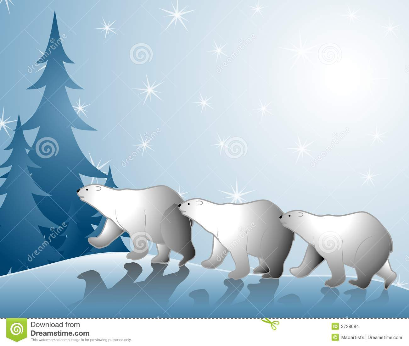 Polar Bears Walking In Snow Stock Images   Image  3728084