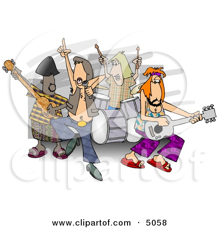 Rock And Roll Band Members Playing Music Clipart By Djart  5058