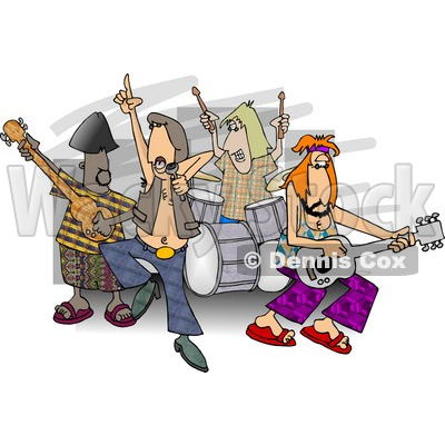 Rock And Roll Band Members Playing Music Clipart   Dennis Cox  5058