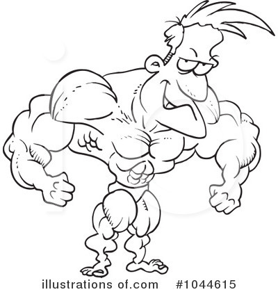 Royalty Free  Rf  Bodybuilder Clipart Illustration By Ron Leishman