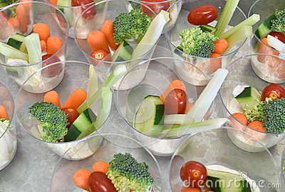 Single Servings Of Dip And Veggies