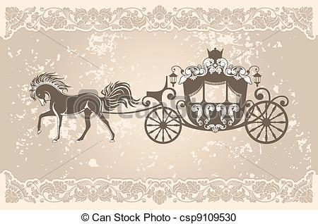 Vector Clipart Of Royal Carriage With Horse On The Grunge Background