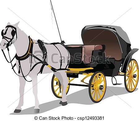 Vector Of Vintage Carriage And Horse Vector Illustration Csp12493381