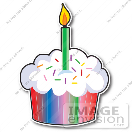 33439 Clipart Of A First Birday Cupcake With Rainbow Paper Sprinkled