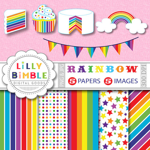 40  Off Rainbow Party Clipart Cupcake Cake Bunting For Cards