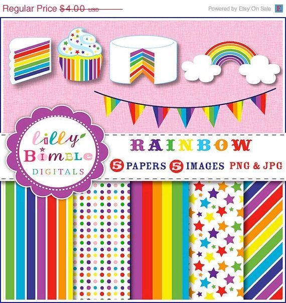 50 Off Rainbow Party Clipart Cupcake Cake Bunting By Lillybimble  2