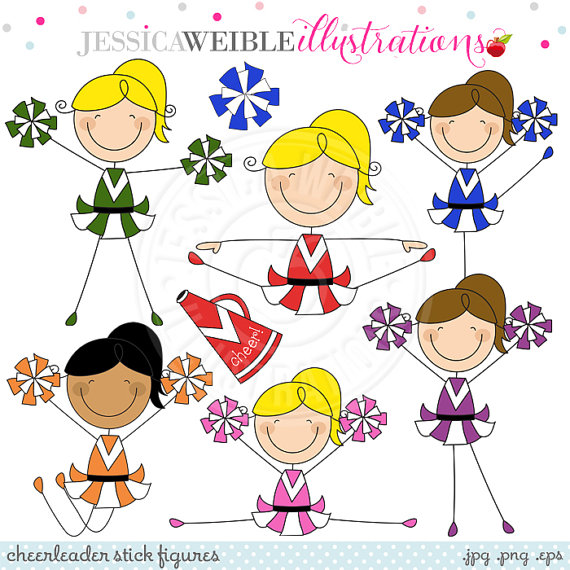 Cheerleader Stick Figures Cute Digital Clipart   Commercial Use Ok