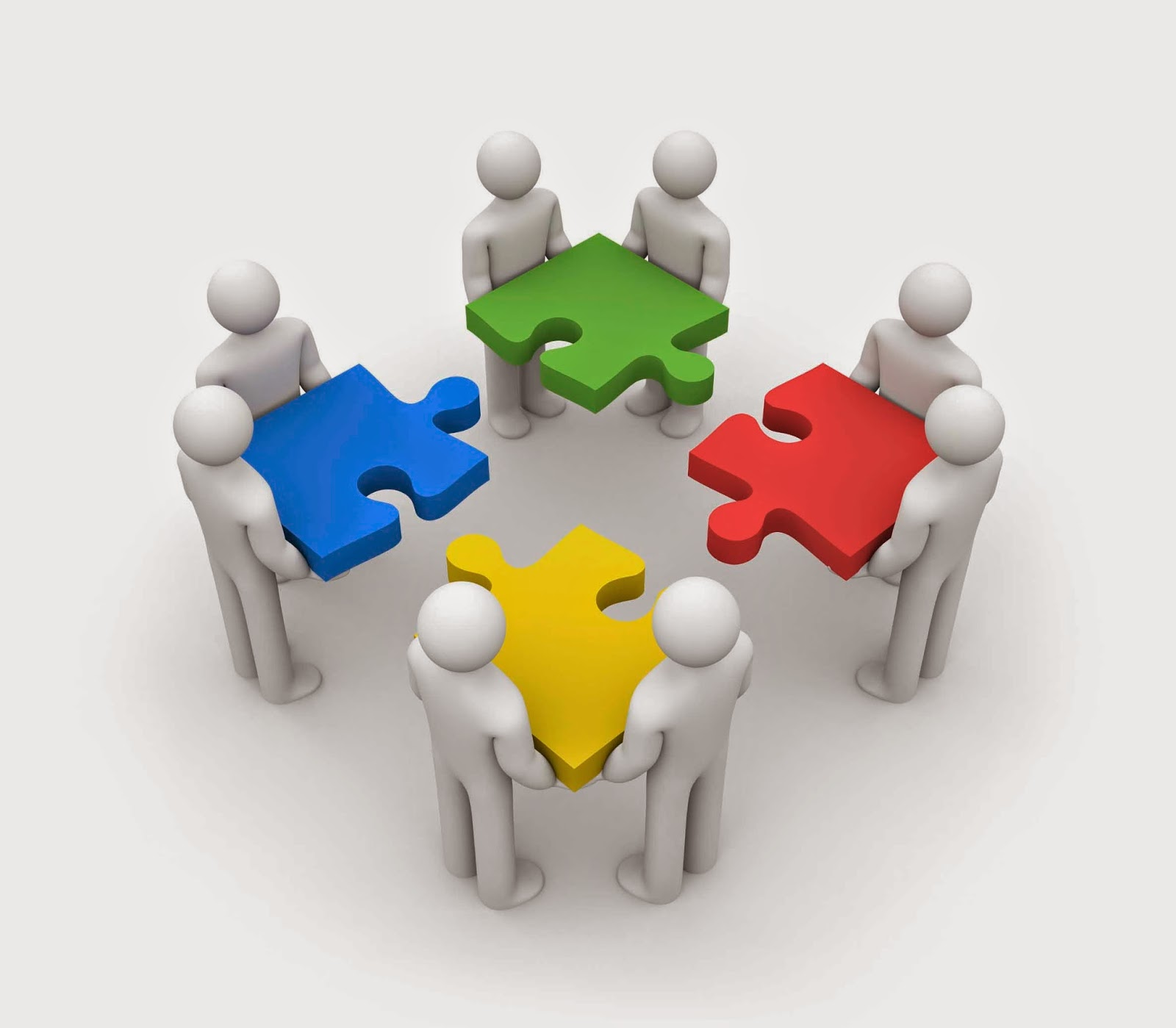 Clipart Of Groups Of People Holding Puzzle Pieces That Are About To