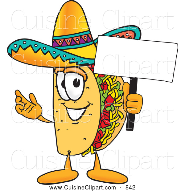 Cuisine Clipart Of A Smiling Taco Mascot Cartoon Character Holding A
