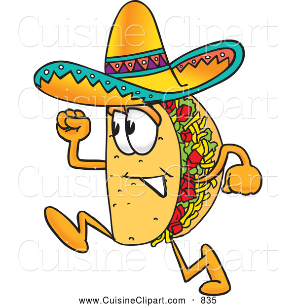 Cuisine Clipart Of A Smiling Taco Mascot Cartoon Character Running By