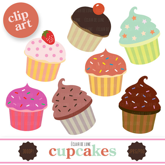 Cupcake Clip Art Food Clipart Cup Cake By Eclairdelune1 On Etsy