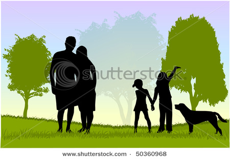 Dog In The Park   Mother Father Brother Sister   Vector Clip Art