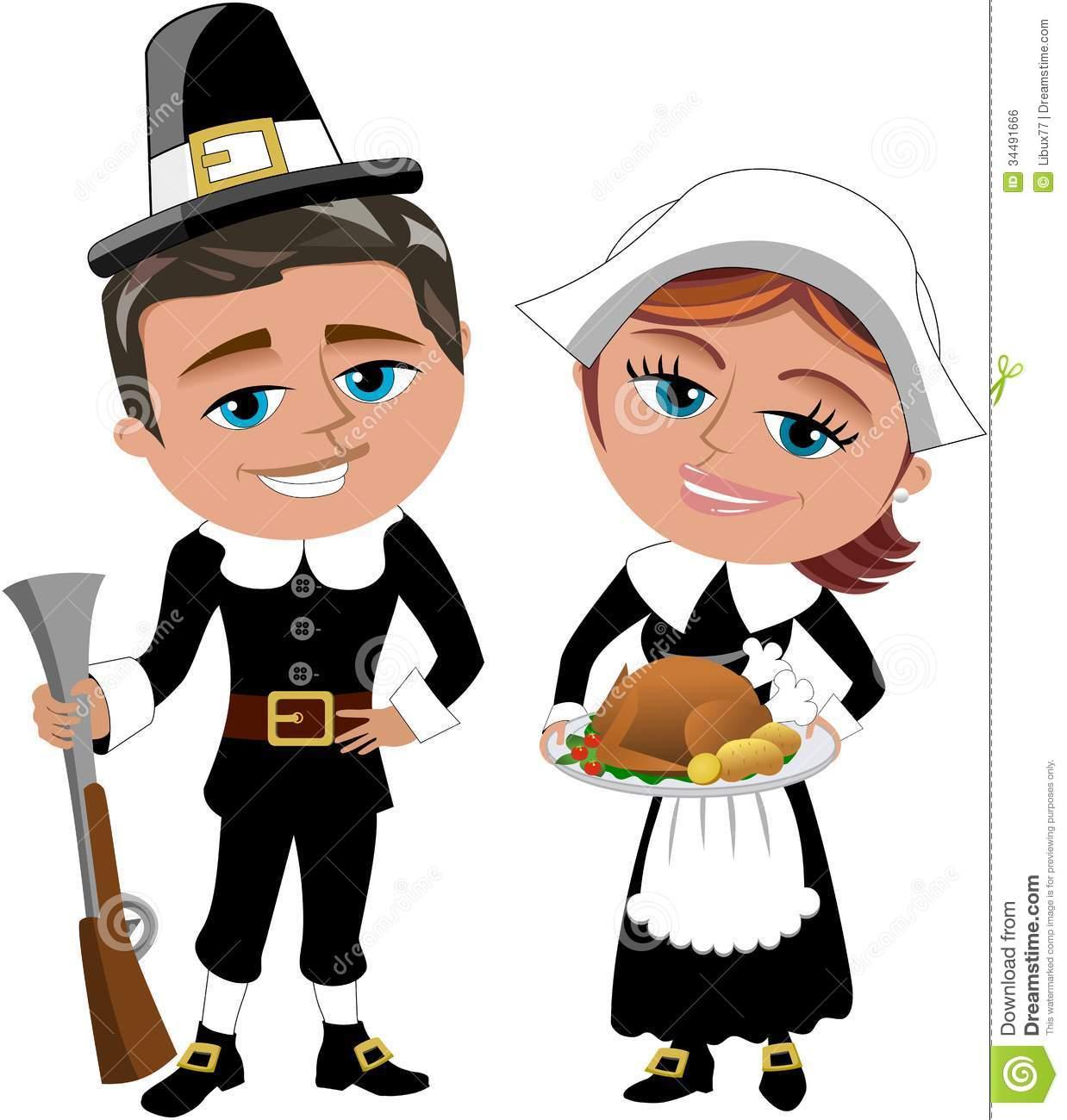 thanksgiving pilgrims cartoon picture royalty free