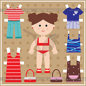 Paper Doll With Clothes Set   Vector Clipart