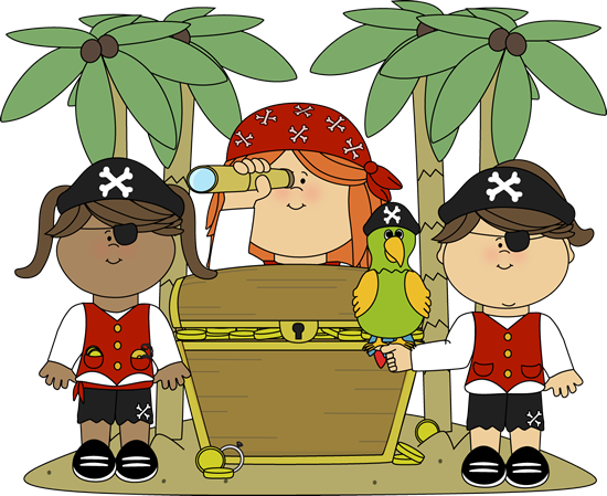 Pirate Girls With Treasure Clip Art   Pirate Girls With Treasure Image