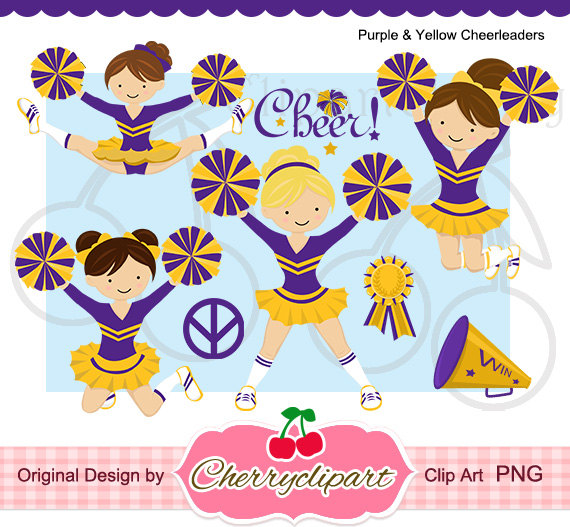 Purple   Yellow Cheerleaders Digital Clipart Set For  Personal And