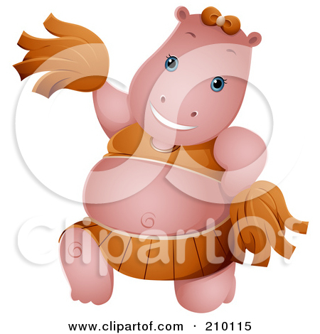 Royalty Free  Rf  Clipart Illustration Of A Cute Cheerleader Hippo By