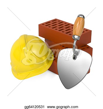 Trowel And Bricks Isolated On White Background Drawing Clipart
