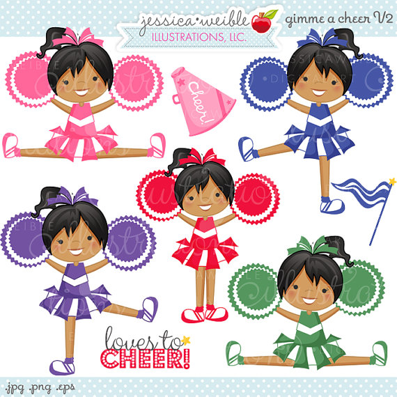 V2 Cute Digital Clipart   Commercial Use Ok   Cheerleading Clipart