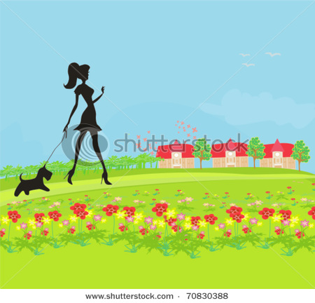Walking Her Dog In The Park   Vector Clip Art Illustration Picture