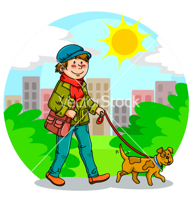 Walking The Dog Vector Art   Download People Vectors   898074
