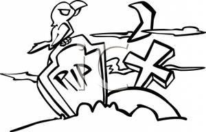 Black And White Cartoon Bird Sitting On Top Tombstone That Says Rip