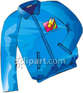 Blue Jacket With A Colorful Insignia Royalty Free Clipart Picture