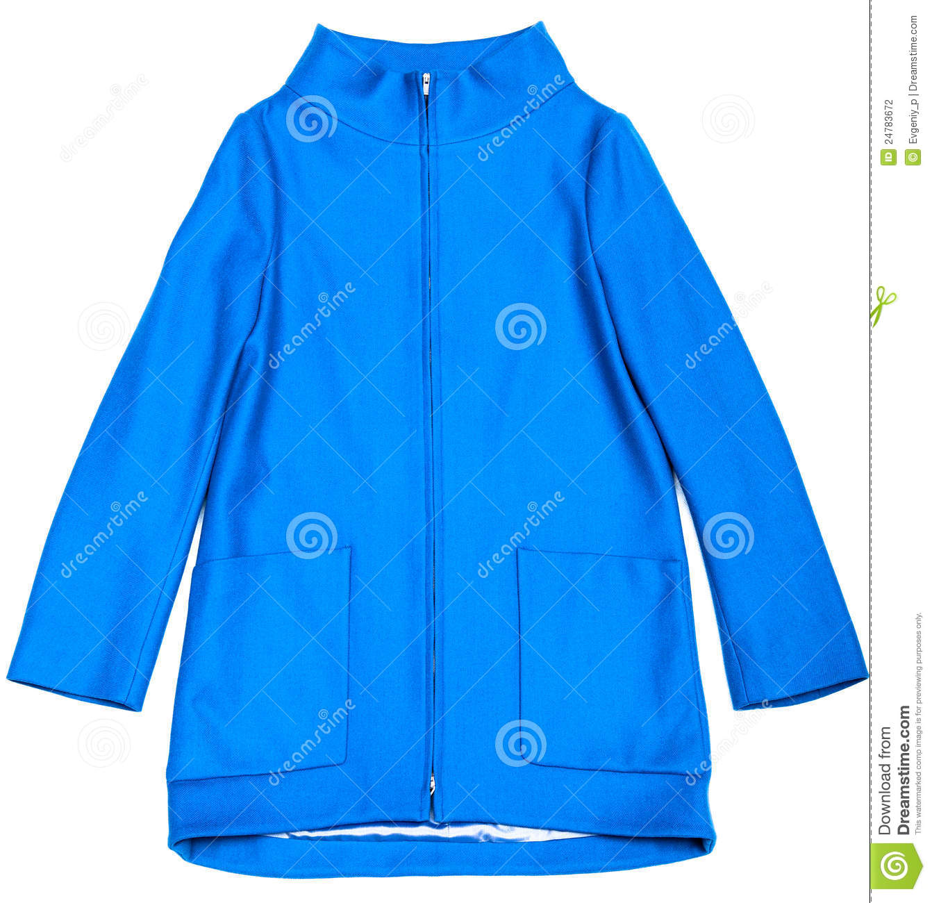 Blue Jacket With Pockets And A Zipper On A White Background