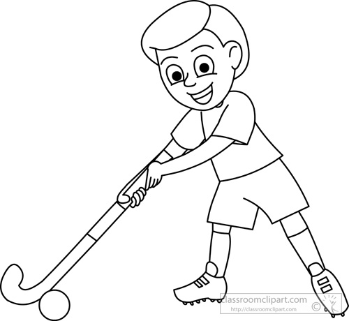Boy Playing With Hockey Stick Outline Jpg