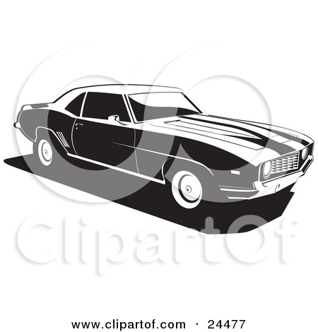 Clipart Illustration Of A 1970 Chevy Camaro Muscle Car With Racing