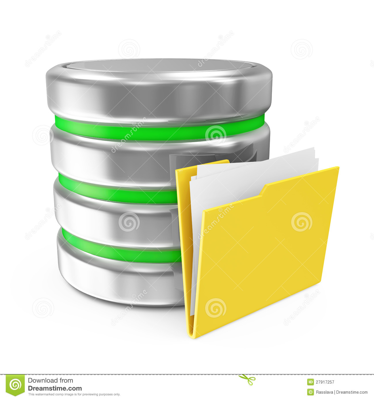 Computer Database Symbol With Folder Royalty Free Stock Photography