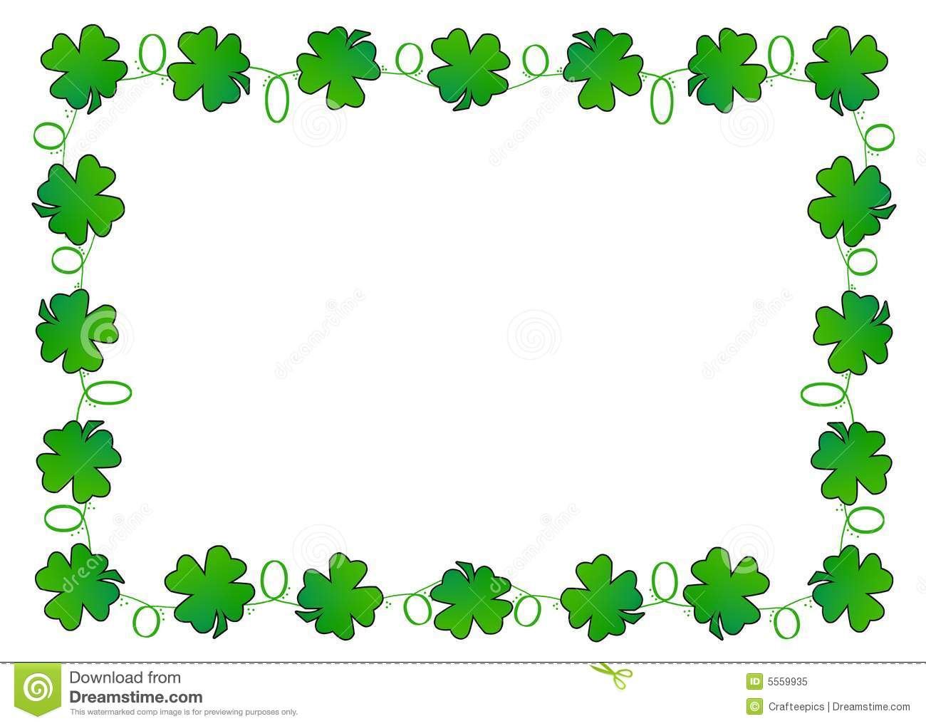 Digitally Created Four Leaf Clovers Border This Image With Room For