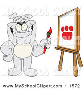 Dog School Border Husky School Mascot Writing At A Desk Gray Bulldog