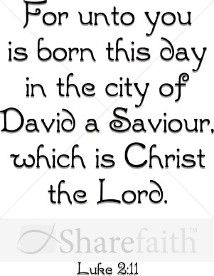 For Unto You Is Born This Day   Christian Christmas Word Art