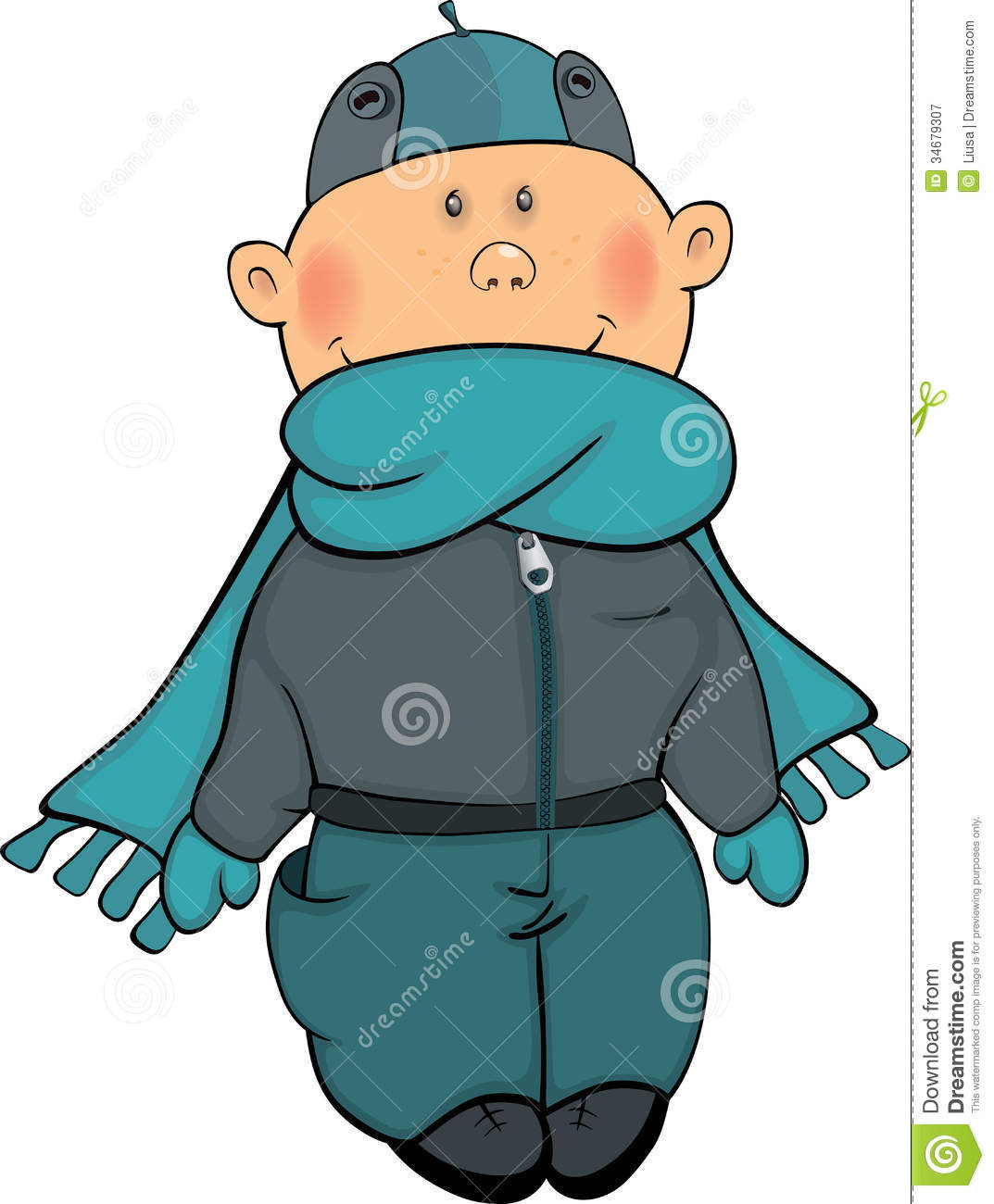 Free Stock Photography  A Boy In A Winter Jacket And A Cap Cartoon