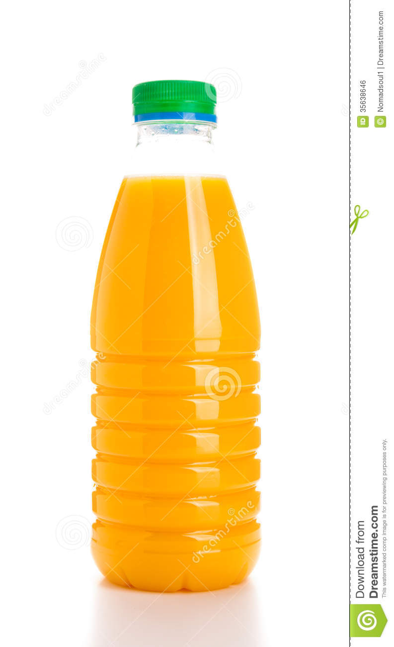 Glass Bottle Of Fruit Juice  Isolated Over White Background