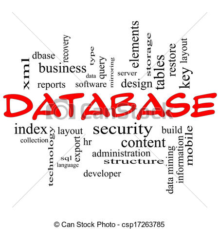 Illustration Of Database Word Cloud Concept In Red Caps   Database