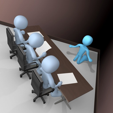 Intereviewed By A Panel Of Judges Or Bosses Clipart Illustration Image