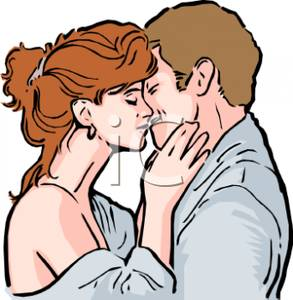 Of A Couple Embracing And Kissing   Royalty Free Clipart Picture