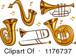 Of Brass Instruments And Music Notes Royalty Free Vector Clipart