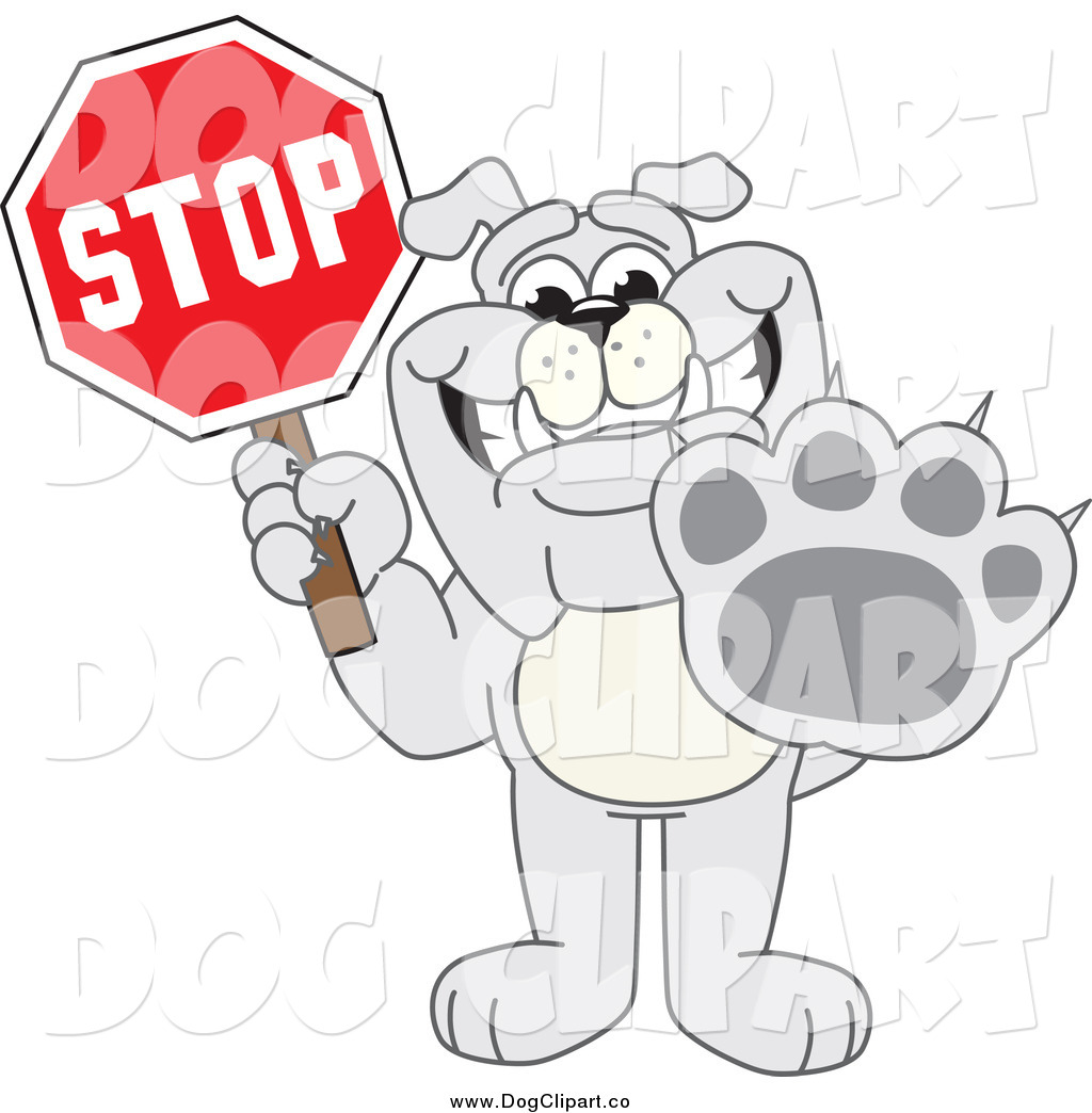 Preview  Vector Cartoon Clip Art Of A Bulldog Holding A Stop