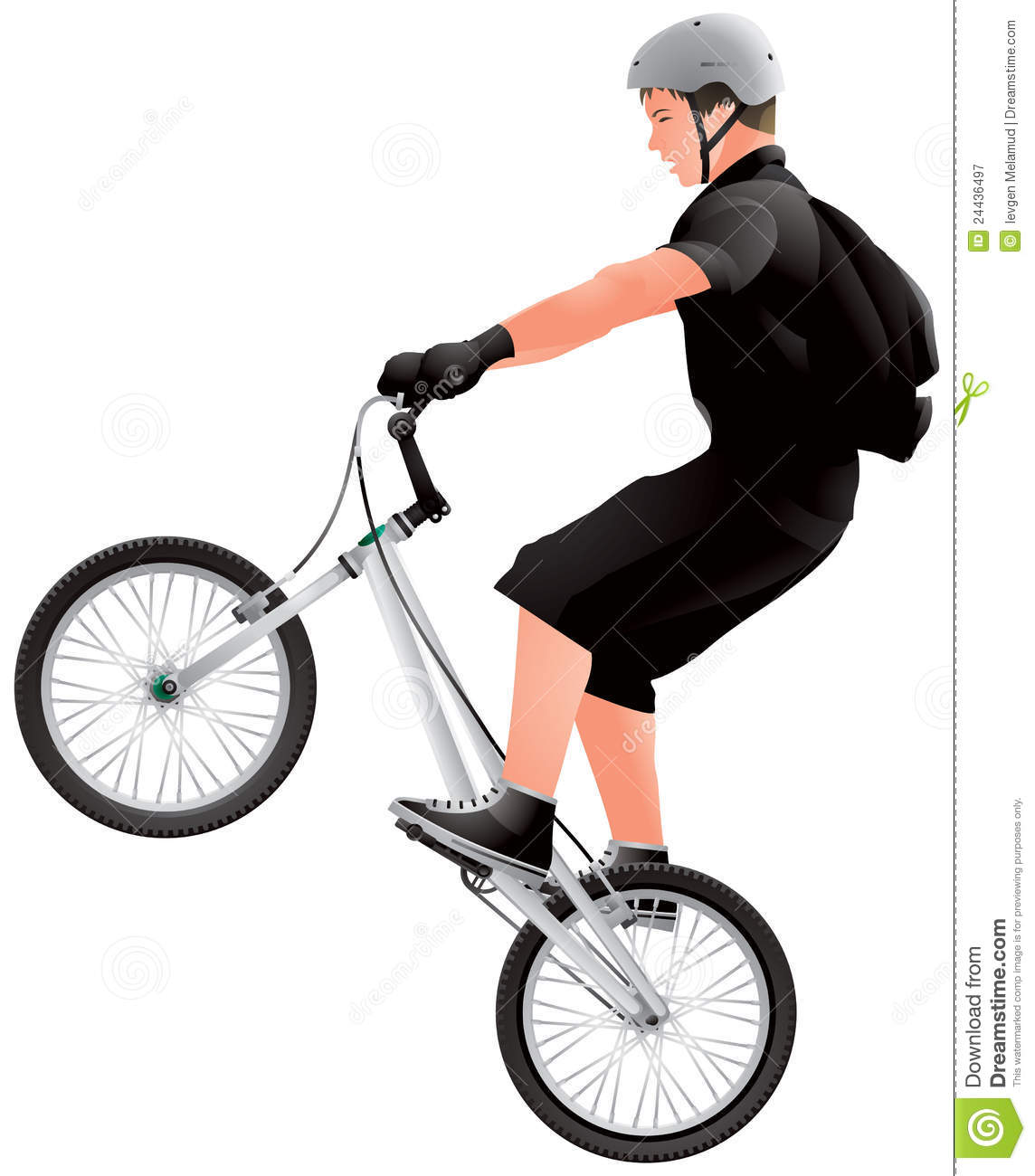 Teenage Bmx Biker Bmx Bicycle Rider Realistic Vector Image Extreme