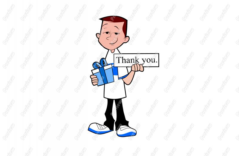 Thank You Teen Boy Gift Character Clip Art   Royalty Free Clipart