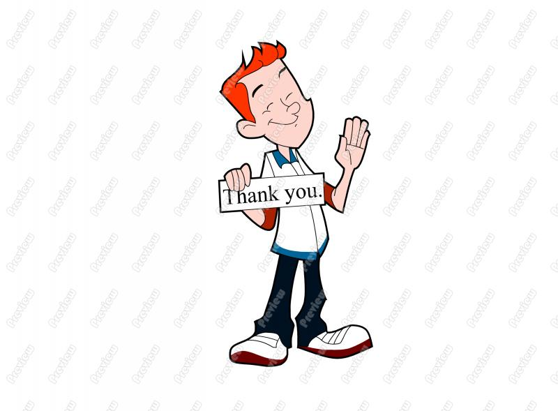 Thank You Teen Boy Sign Character Clip Art   Royalty Free Clipart