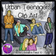 Urban Teenager Clip Art   Realistic  Color And Black Line