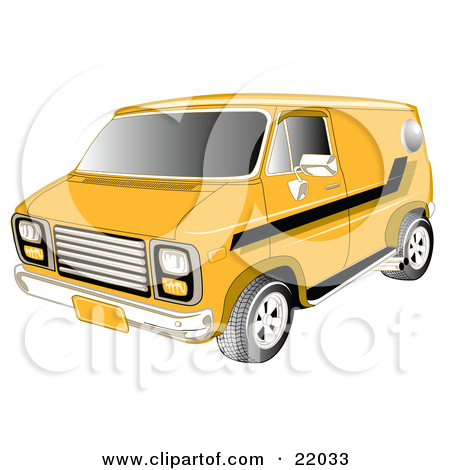Yellow 1979 Chevy Van With Tinted Windows And Black Striping On The