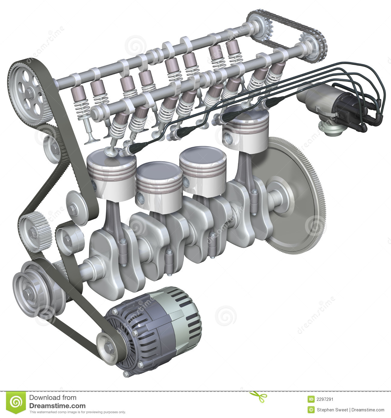 3d Illustration Of The Internal Parts Of A Four Stroke Petrol Engine