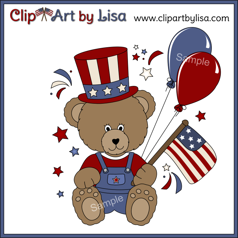 Americana Clip Art Patriotic Bears Angels Flags Red White And