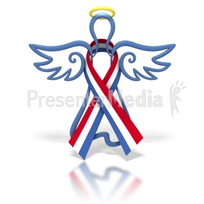 Angel Outline Red White Blue Ribbon   Signs And Symbols   Great